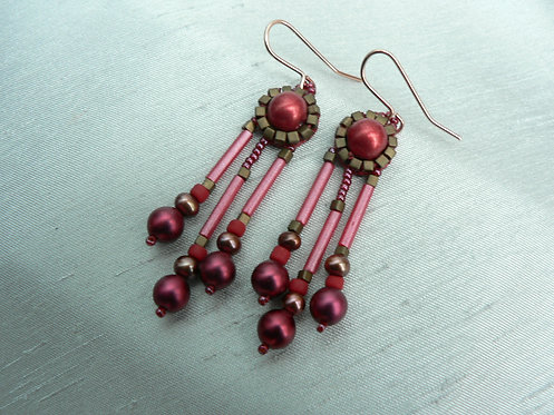 Sam Hemming red faux pearl and glass bead earrings