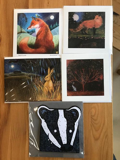 British wildlife pack of 5 cards