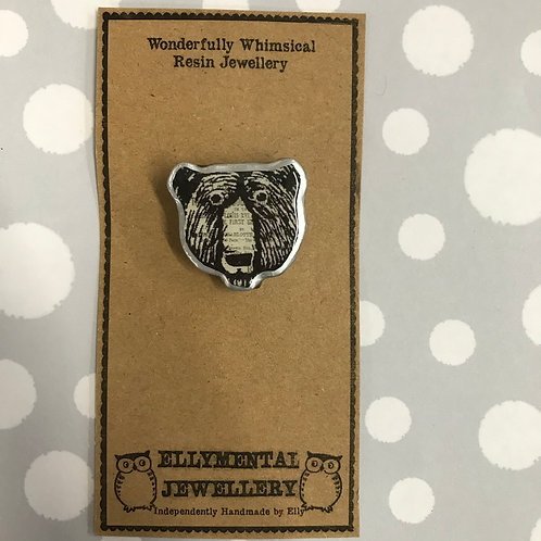 Ellymental little bear head brooch