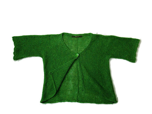 Lillian Scott bright green pure wool hand knit jacket