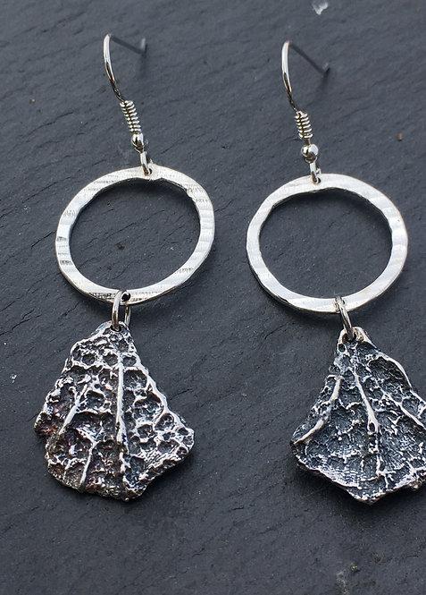 Carol James Silverfish coral and loop drop earrings