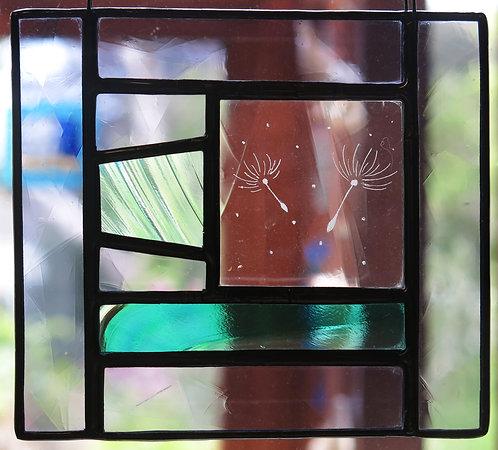 "Amanda Rawling"" Two Seeds on the Breeze"" glass panel"