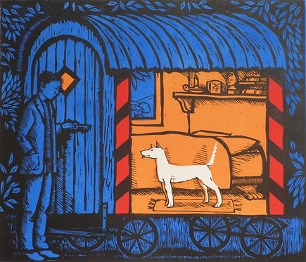 "Frans Wesselman wood cut "" Coming Home"""