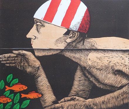 """Frans Wesselman woodcut """" Swimmer II"""""""