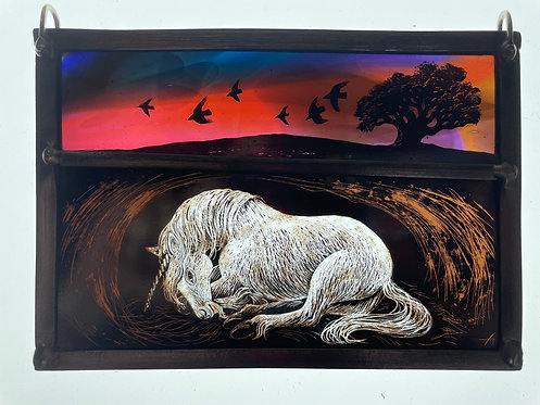 """Tamsin Abbott stained glass panel """" Waiting"""""""