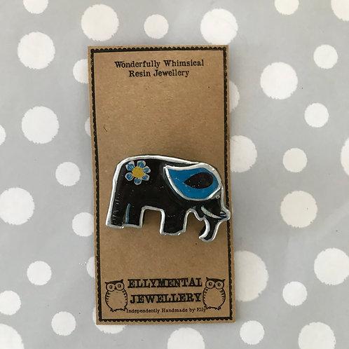 Ellymental resin elephant brooch