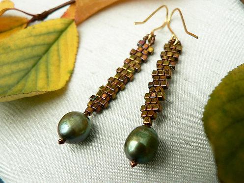Sam Hemming bronze glass beads and freshwater pearl earrings