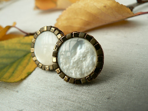 Sam Hemming mother of pearl and bead stud earrings