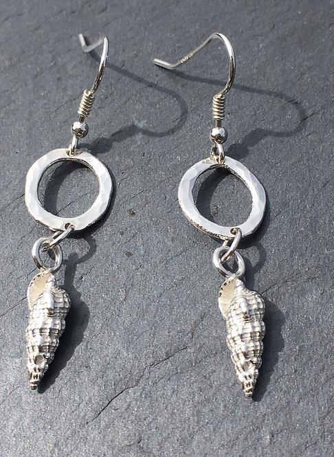 Carol James silver shell and loop earrings
