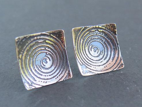 Ali Tregaskes spiral square stud earrings