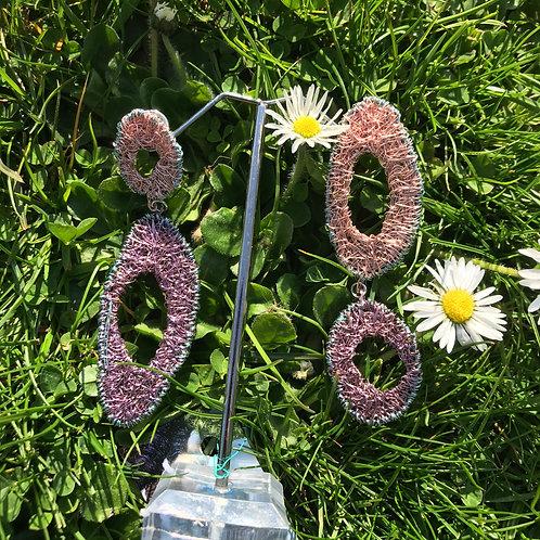Jo Dewar double oval rose gold/lilac earrings