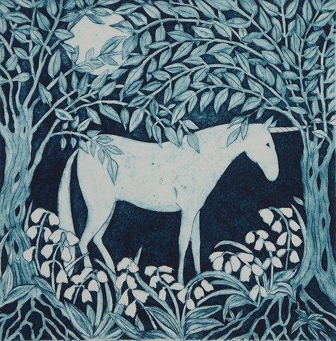 Victoria Keeble 'Midsummer Unicorn' collagraph