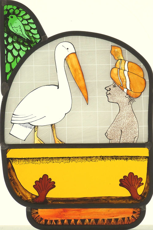"Frans Wesselman "" Woman with Pelican"" stained glass panel"