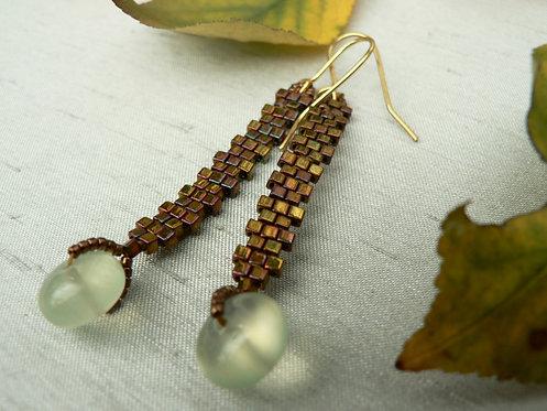 Sam Hemmingbronze glad bead and preterite  bead earrings