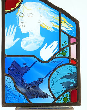Ariel, stained glass panel, 35x24.5 cm.j