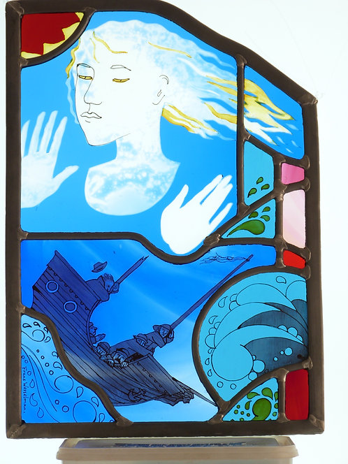 "Frans Wesselman ""Ariel"" stained glass panel"