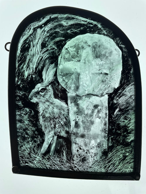 """Tamsin Abbot glass panel """" Places of Power"""""""