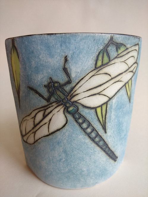 Jeanne Jackson dragonfly and bee vase