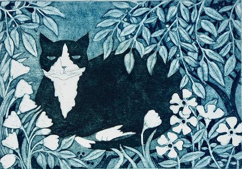 Victoria Keeble ' In a Summer Garden' collagraph