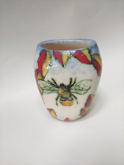 Jeanne Jackson Dragonfly & Bee vase