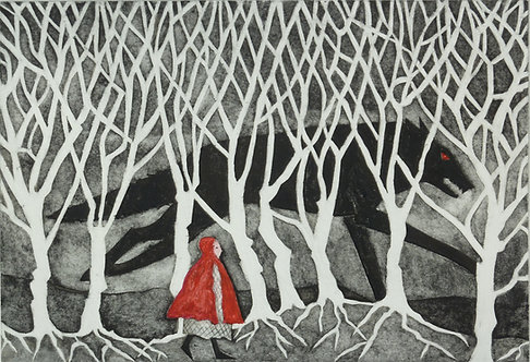 "Victoria Keeble ""Into the Dark Woods"" collagraph"
