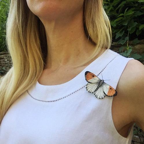 Vikki Lafford Garside Orange-tip butterfly brooch