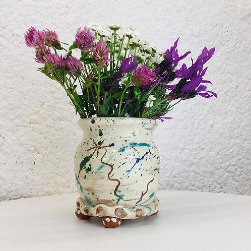 Sarah Monk thrown vase with four little feet