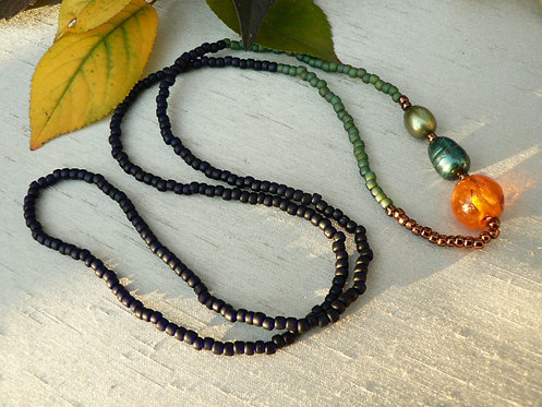 Sam Hemming bead necklace with amber and fresh water pearls