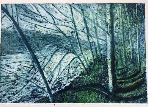Annabelle Oppenheimer 'River Wye' collagraph