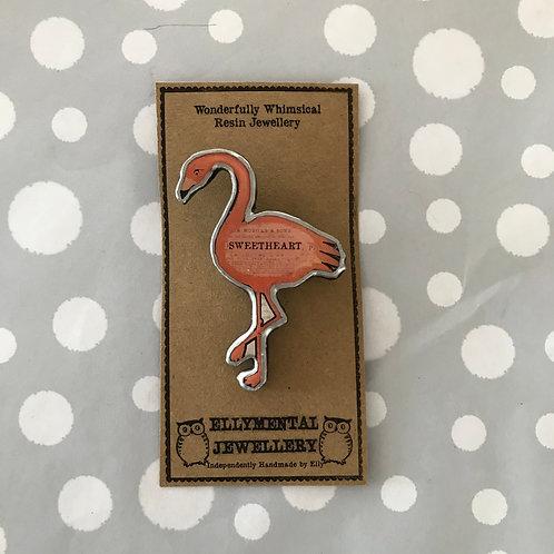 Ellymental resin flamingo brooch