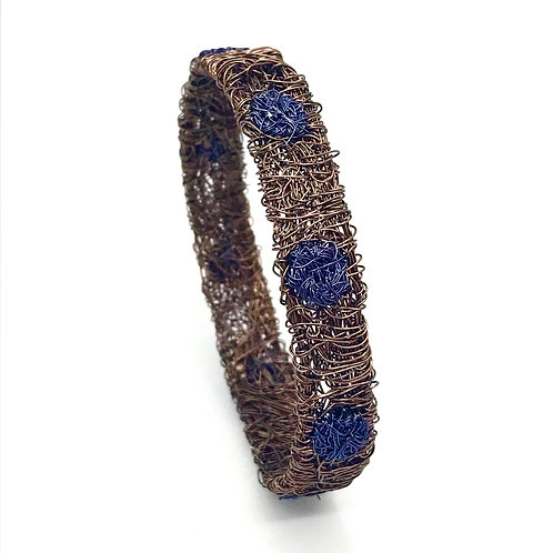 Jo Dewar gunmetal/blue half cuff bracelet