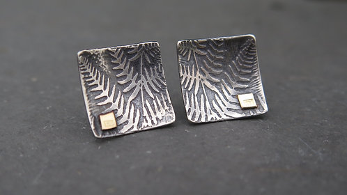 Ali Tregaskes fern studs in oxidised silver with 18ct gold squares