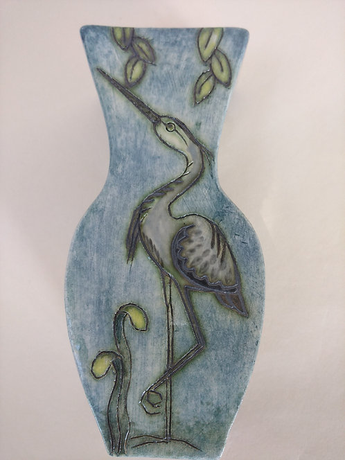Jeanne Jackson heron & kingfisher vase