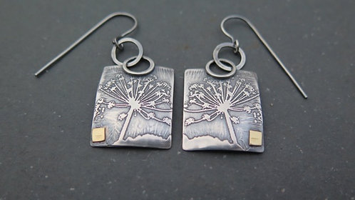 Ali Tregaskes Cow Parsley silver drop earrings with gold