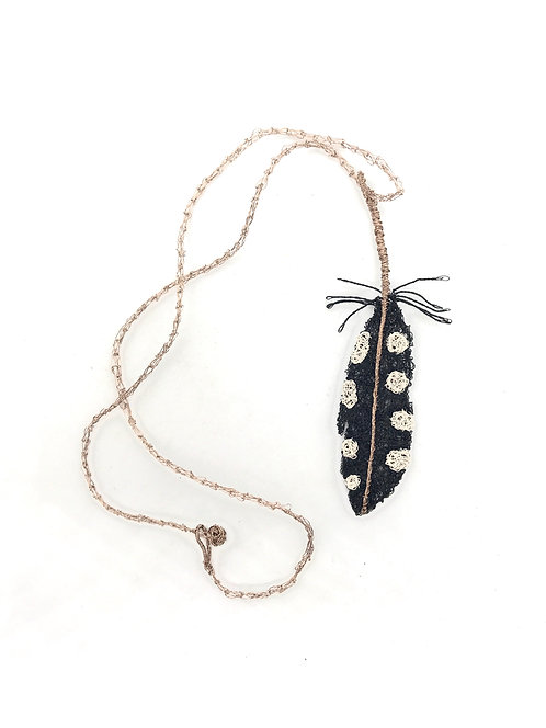 Jo Dewar black and white feather necklace