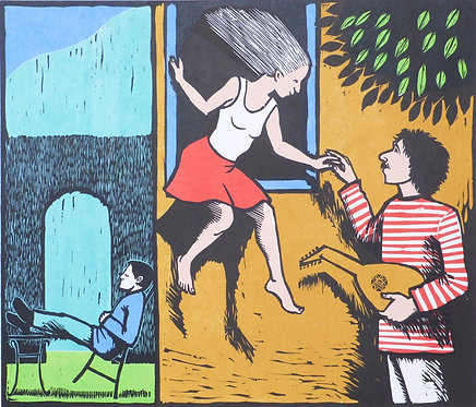 "Frans Wesselman wood cut "" Came a Young Lover"""