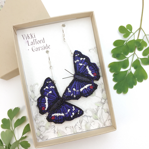 Vikki Lafford Garside Purple Emperor butterfly earrings