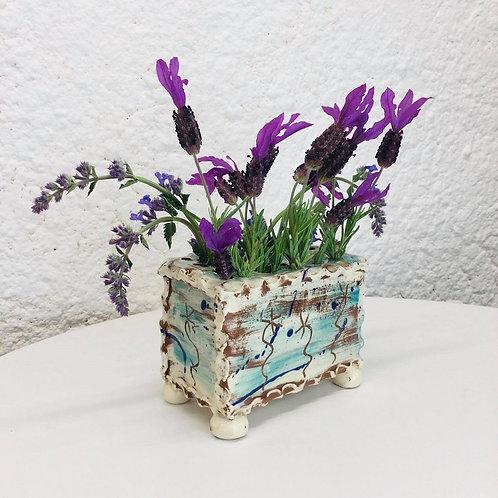 Sarah Monk ceramic flower brick /scraffito flowers