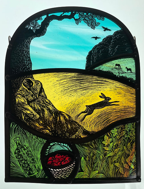 """Tamsin Abbott stained glass panel """" I Shall Go into a Hare"""""""