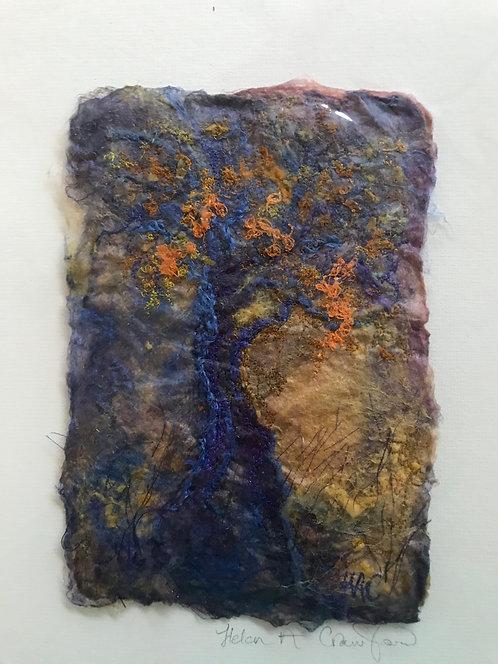 "Helen Crawford textile original "" Hillside Hawthorn"""