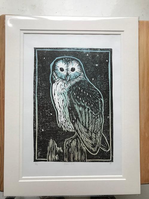"Tamsin Abbott "" Barn Owl linocut"