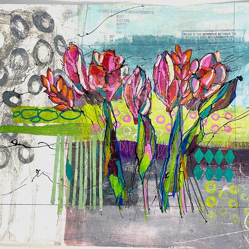 Jo Dewar 'Summer Border' original painting