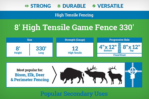 8′ High Tensile Game Fence 330' - 4x12