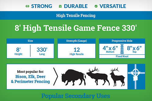 8′ High Tensile Game Fence 330' - 4x6