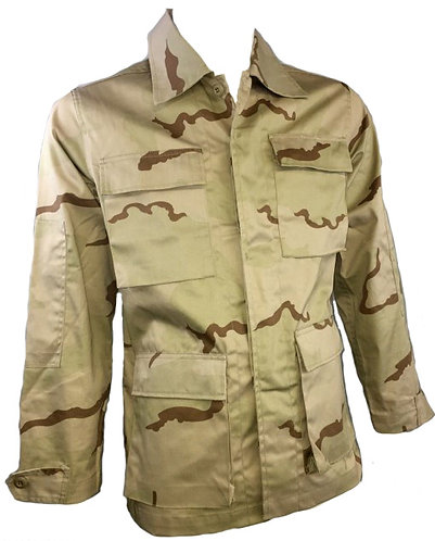 USMC/Army/Navy/Air Force Surplus 3 Color Desert BDU Combat Shirt-Non Ripstop