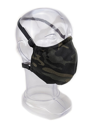 Reusable Black Multicam 2 or 3 Ply Fabric Face Mask