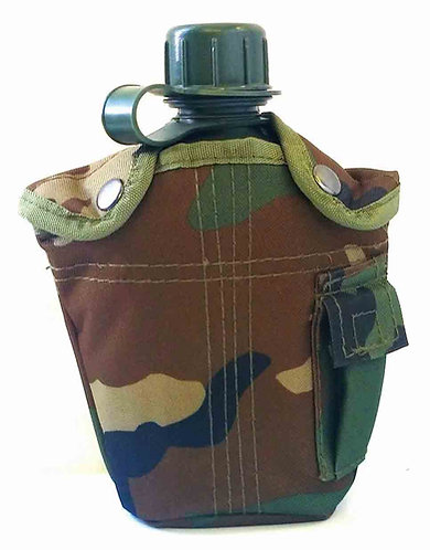 Woodland Camo Canteen and Pouch-New