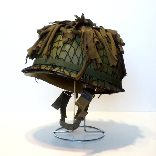 US Army Surplus M1 Helmet With Ghillie Scrim Cover