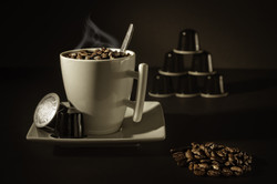 A nice hot capsule coffee filled with be