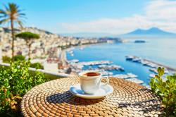 Cup of fresh espresso coffee in a cafe w